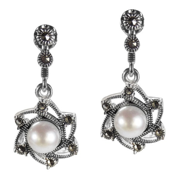 Vintage Sunny June Pearl Marcasite 925 Silver Drop Earrings (Thailand)