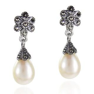 Vintage Teardrop Pearl Floral Marcasite 925 Silver Earrings (Thailand)