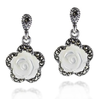 Vintage Carved Rose MOP Marcasite 925 Silver Drop Earrings (Thailand)