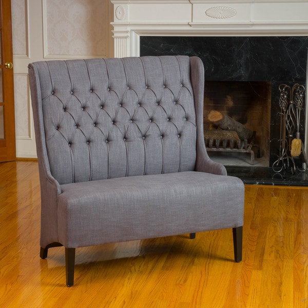 Christopher Knight Home Heidi Button Tufted Charcoal WingBack Loveseat
