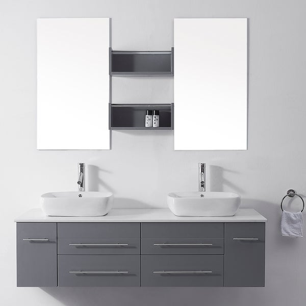 Virtu Usa Augustine  Inch Grey Double Bathroom Vanity Cabinet Set