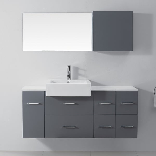 Virtu Usa Enya 55 Inch Grey Single Sink White Stone Vanity