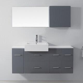 Virtu USA Enya 55-inch Grey Single Sink White Stone Vanity Set