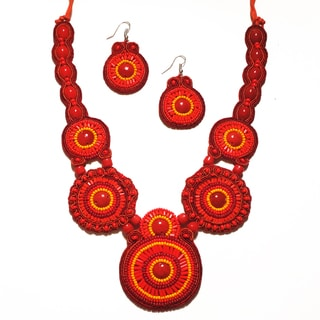 Pavcus Designs Red Mandala Beaded Bib Necklace and Earring Set