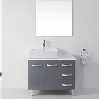 Virtu USA Tilda 46-inch Grey Single Sink White Stone Vanity Set