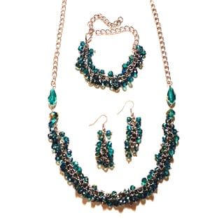Pavcus Designs Brilliant Teal Crystal 3-piece Jewelry Set