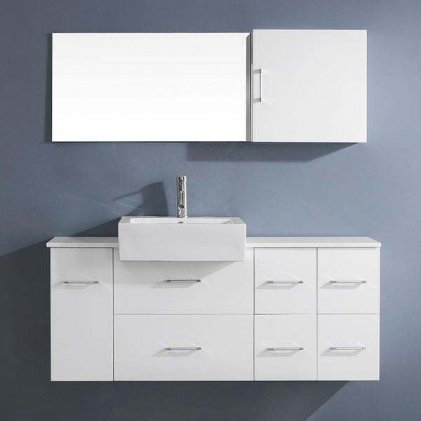 Virtu Usa Enya 55 Inch White Single Sink Stone Vanity Set