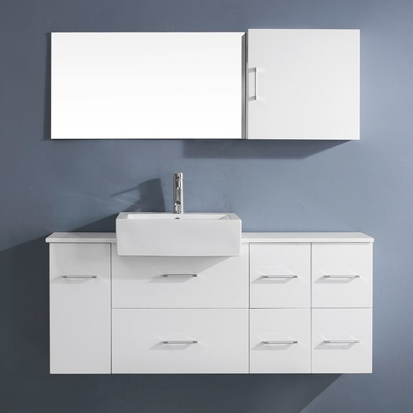 Virtu Usa Enya 55 Inch White Single Sink Stone Vanity Set 16257594