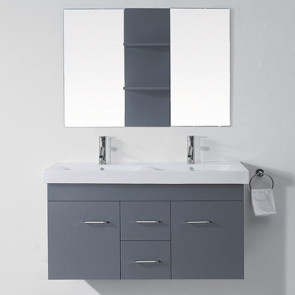 Luxury 48 Inch Bathroom Solid Wood Double Vanity Cabinet With Top In Espresso