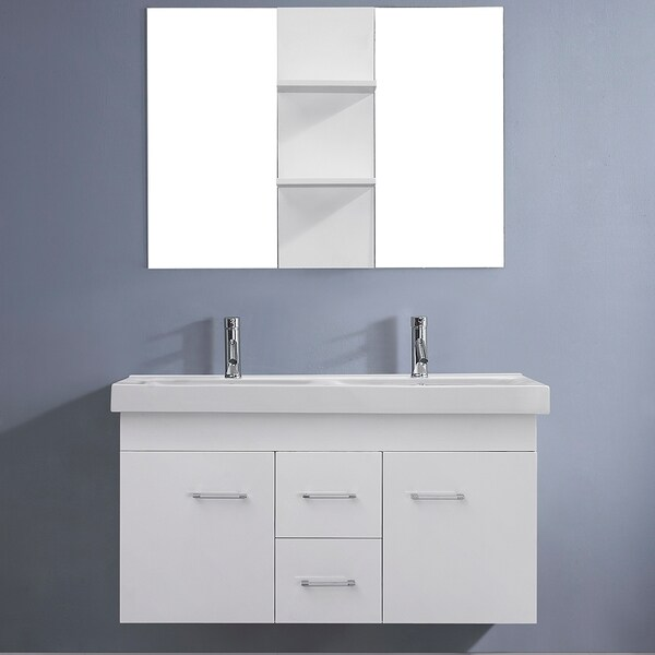 Virtu USA Opal 48 Inch White Double Sink Vanity Set 16257596