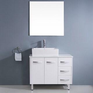 Virtu USA Tilda 40-inch White Single Sink White Stone Vanity Set