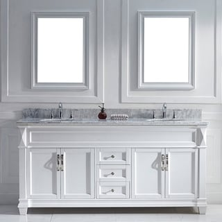 Virtu USA Victoria 72-inch White Double Round Sink Vanity Set