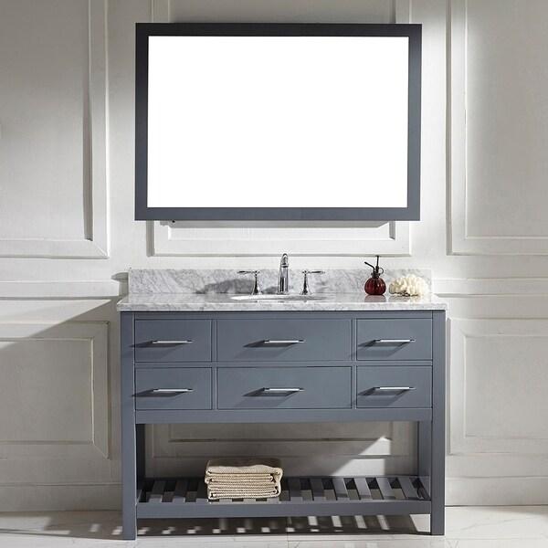 Comcarrera Marble Bathroom Vanity : ... 48-inch Grey Round Single Sink Italian White Carrara Marble Vanity Set