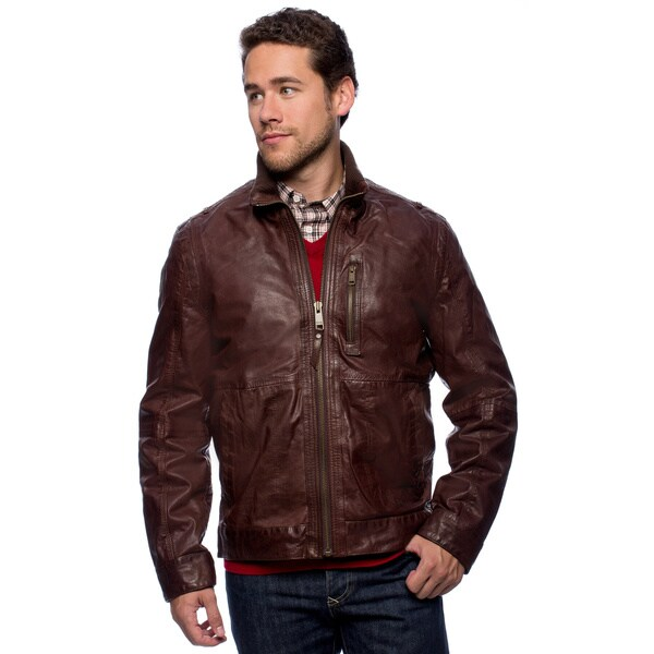 Andrew Marc Men's Lightweight Vintage Calf Leather Jacket