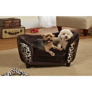 Small Ultra Plush Leopard Furniture Pet Bed