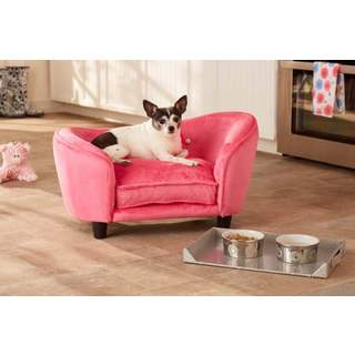 Small Ultra Plush Pink Furniture Pet Bed