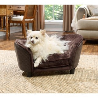 Small Ultra Plush Brown Basketweave Furniture Pet Bed