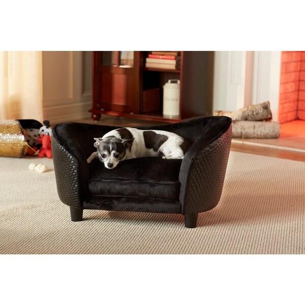 Enchanted Home Pet Ultra Plush Small Black Basketweave Pet Bed