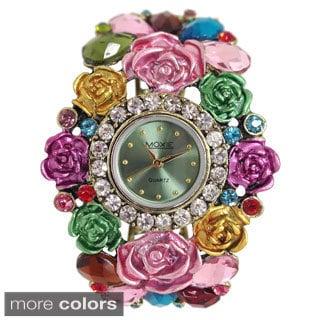 Dakota Moxie Women's Flower and Stone Cuff Bracelet Watch