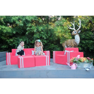 Softblock Kids' Coral Indoor/Outdoor 16-inch Ottoman