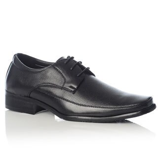 Henry Ferrera Men's Black Perforated Upper Lace-up Oxford Shoes