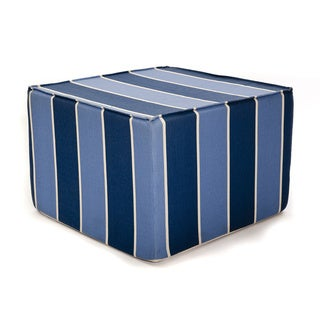 Softblock Blueberry Blue Striped 22-inch Indoor/Outdoor Foam Ottoman
