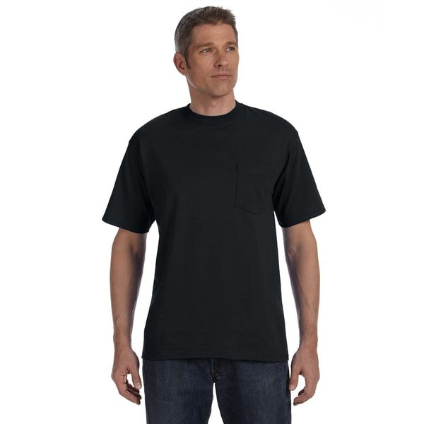Anvil Men's American Heavyweight Cotton Pocket Black Undershirt (Super Value Pack of 12)