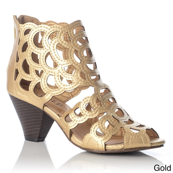 NY VIP Women's 'Nova' Scalloped Laser-cut Heeled Sandal