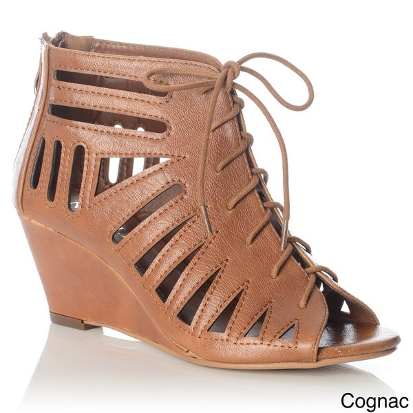 NY VIP Women's Laser-cut Lace-up Wedge Sandal