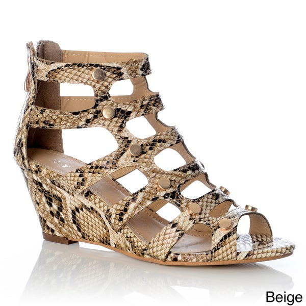 NY VIP Women's Snake-embossed Gladiator Wedge Sandals