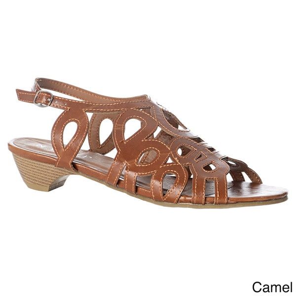 NY VIP Women's Laser-cut Stacked Heel Sandals
