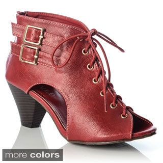 NY VIP Women's Lace-up Double Buckle Booties