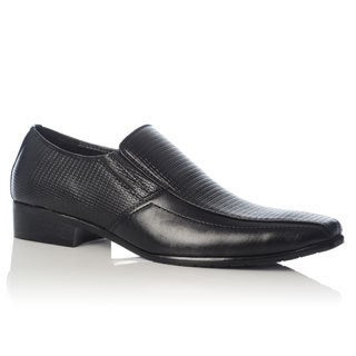 Henry Ferrera Men's Black Textured Upper Loafers