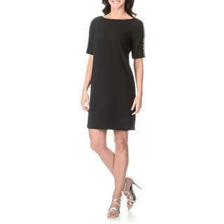 Sandra Darren Women's Rhinestone Shoulder Detail Shift Dress