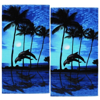 Moonlight Jumping Dolphins Beach Towel (Set of 2)