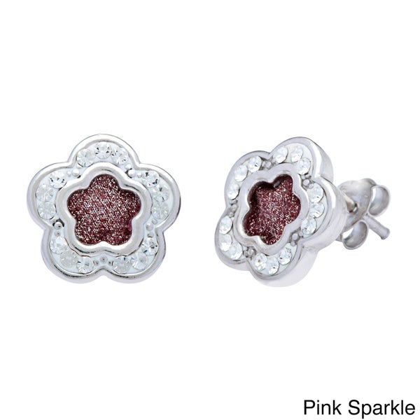 La Preciosa Sterling Silver Sparkle and Crystal Flower Stud Earrings