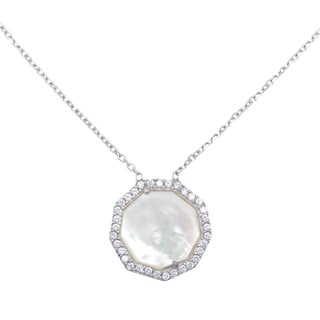 La Preciosa Sterling Silver Mother of Pearl Hexagon Necklace