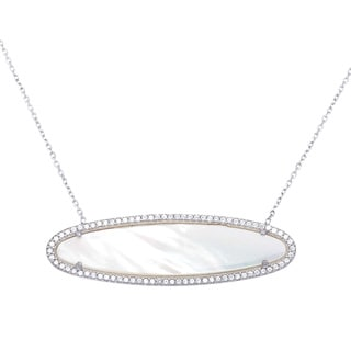 La Preciosa Sterling Silver Mother of Pearl and Cubic Zirconia Horizontal Oval Necklace