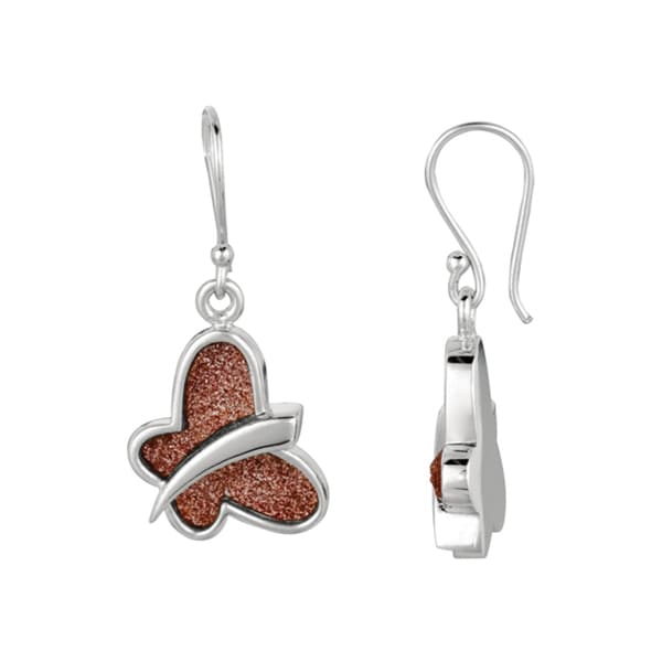 Rhodium-plated Pink Glitter Butterfly Dangle Earring