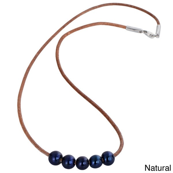 Black Freshwater Pearl Genuine Leather Cord Necklace (10mm)