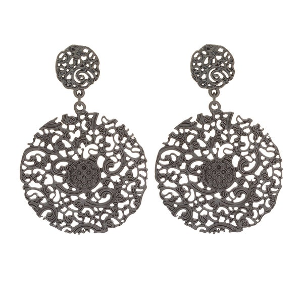 Nexte Jewelry Black Filigree Disc Dangle Earrings