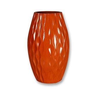 Decorative 12-inch Orange Wood Vase