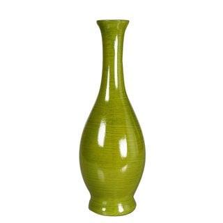 Decorative14.5-inch Green Wood Vase