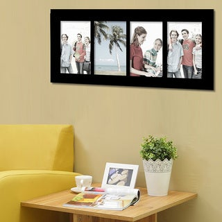 """Adeco 4-photo Black Wood 3.5""""x5"""" Picture Frame"""
