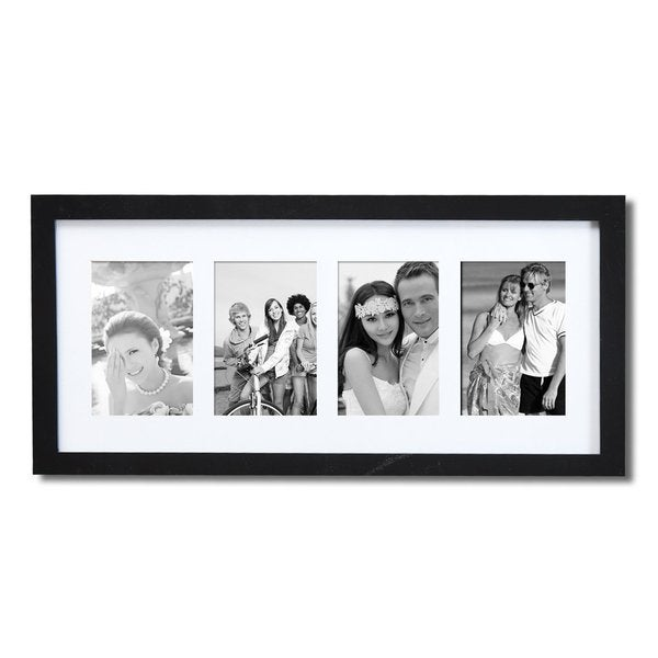 Adeco 4 Photo Black Wood 3 5 Quot X5 Quot Matted Picture Frame
