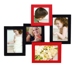 Adeco 5-photo Collage Black/ Red Wood Picture Frame