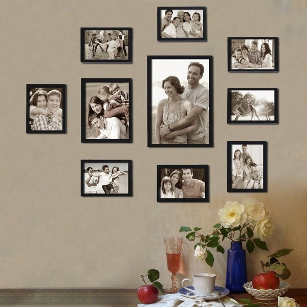 Adeco Decorative Black Wood 10-piece Wall Hanging/ Table Top 8-4x6 / 1-6x8 / 1-8x10 Photo Frame