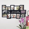 Adeco Decorative Black Wood 'Family' Wall Hanging Collage 4x6 / 5x7 Photo Frame with 11 Openings