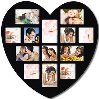 Adeco Black Wood Wall Hanging Heart-shaped Photo Frame