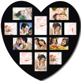 Adeco Decorative Black Wood Wall Hanging Heart-shaped Hanging 4x6 / 4x4 Photo Frame with 13 Openings
